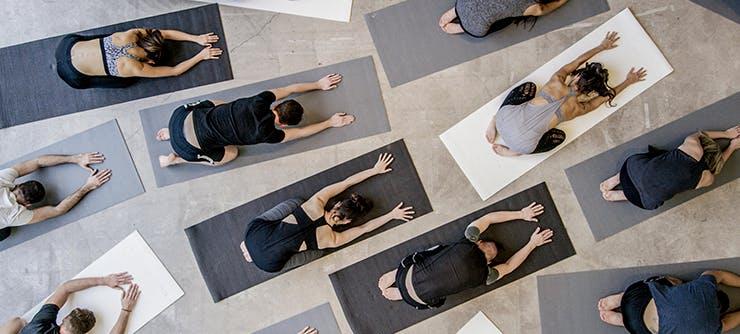 Busy yoga class