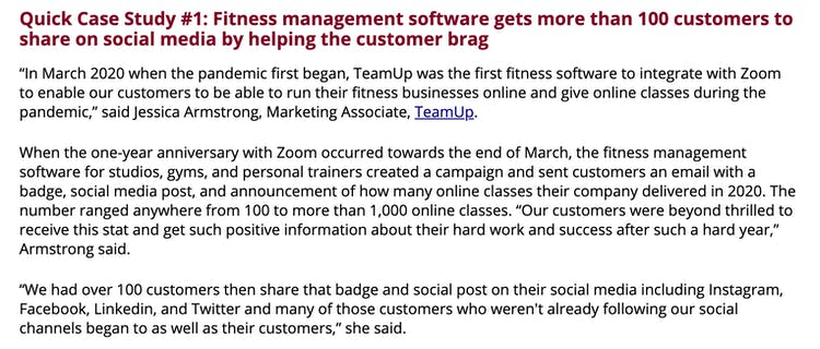 marketing sherpa article featuring teamup