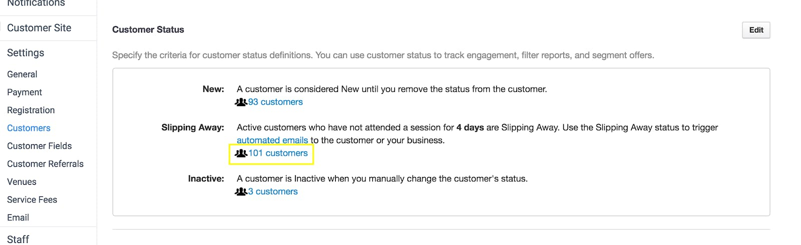 Image shows screenshot of statistics: New, Slipping Away, and Inactive members. Highlight is Slipping Away: 101 customers