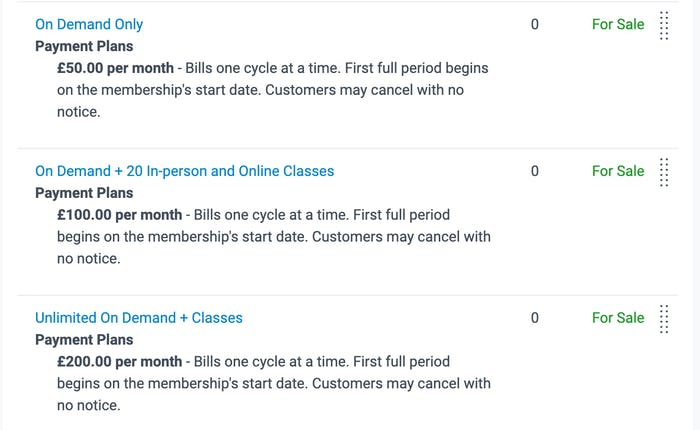 membership options in on demand