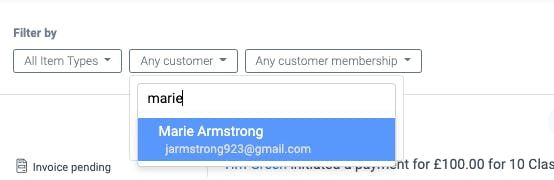 image of the customer filter in the activity feed