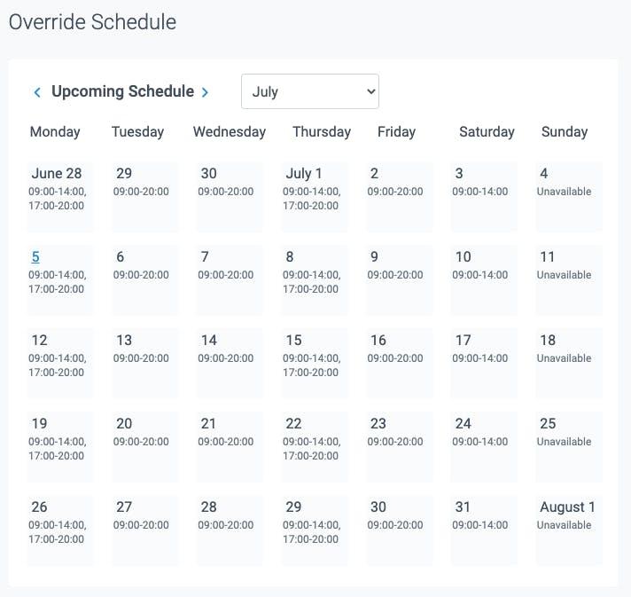 override schedule in teamup