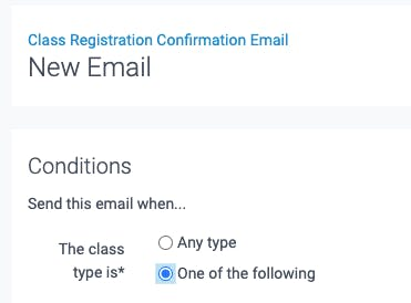 the new email class registration confirmation settings