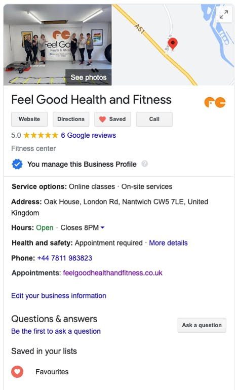Clare's completed Google My Business listing