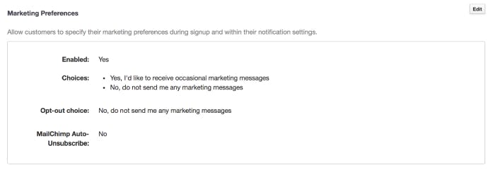 image of teamup marketing preferences and customer settings