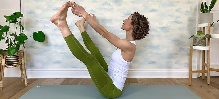 Claire Dambawinna teaching an online yoga class