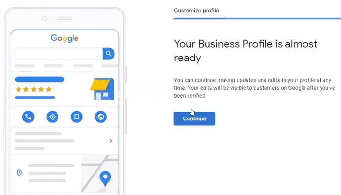 Final stages of creating a Google My Business account