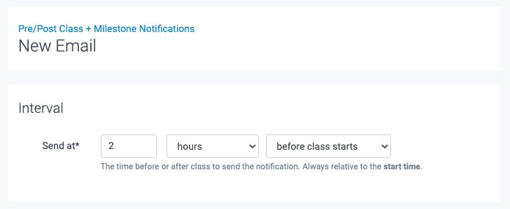 new email for the pre and post notifications