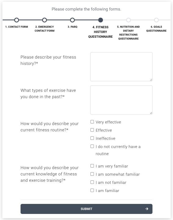fitness history questionnaire