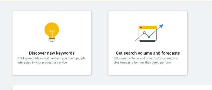 The two options for Keyword Planner