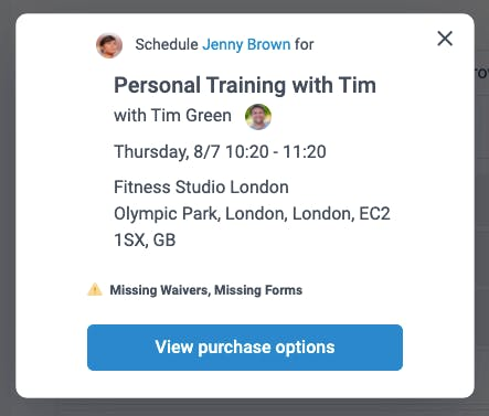 personal training confirmation