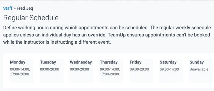 regular schedule for appointments and schedule