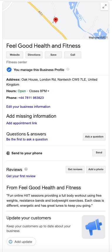 The final version of Clare's Google My Business profile on Google