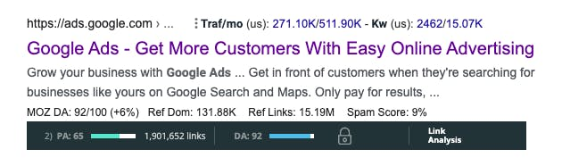 Moz showing the higher PA and higher DA of ads.google.com