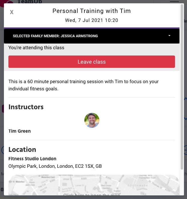 personal training confirmation in teamup