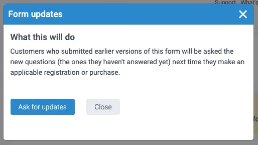 the warning before the form settings to exisiting customers