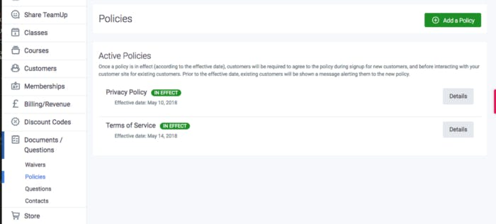 image of policies in teamup dashboard