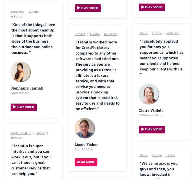 examples of teamups testimonials
