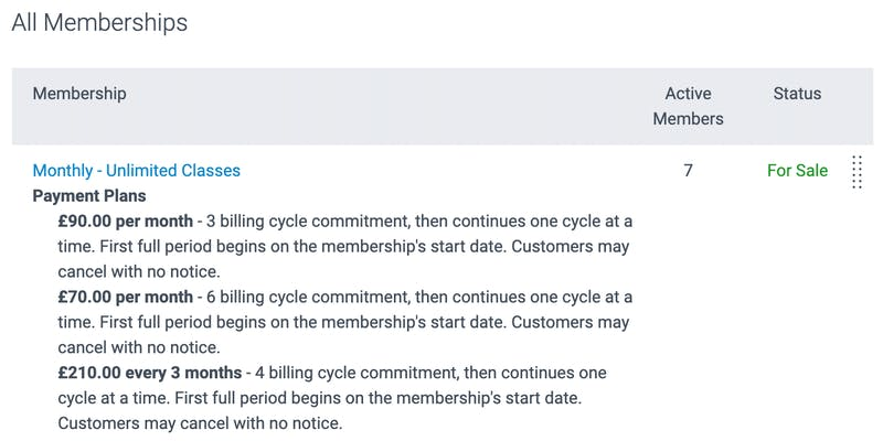image of a list of all memberships and payment plans