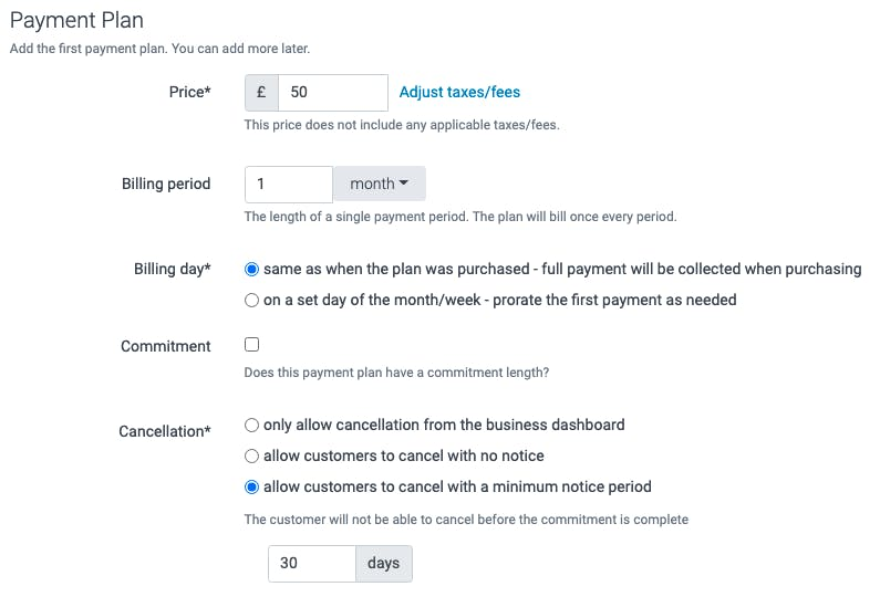 A payment plan in TeamUp