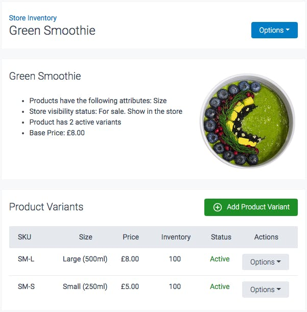 image of store inventory item green smoothie