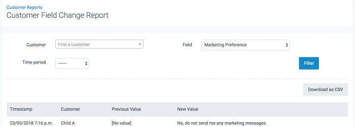 image of customer field change report in teamup