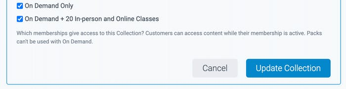 on demand membership options in collections