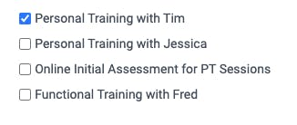 personal training appointments