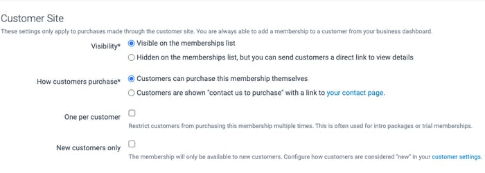 Options for how customers will view the membership plan