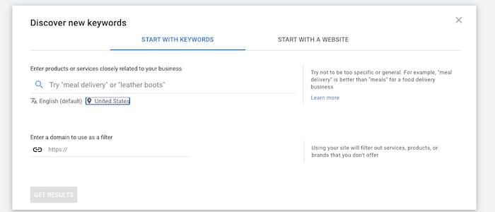 Keyword Planner search tool
