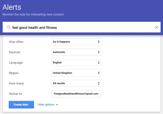 Google Alerts set up page for Feel Good Health & Fitness