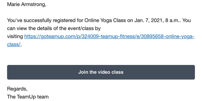 image of the online class email confirmation