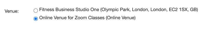 image of the venue options for online classes