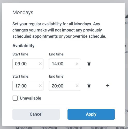 editing the availability in teamup