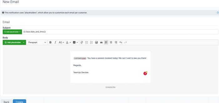 An example reminder email