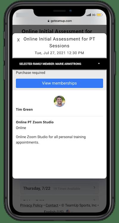 viewing membership in member app