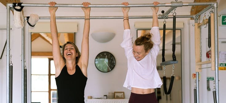 Jen Day (right), owner of iPilates UK and her student Rebecca
