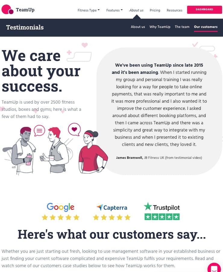 teamup testimonial page