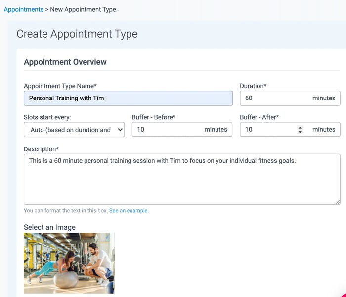 create an appointment in teamup