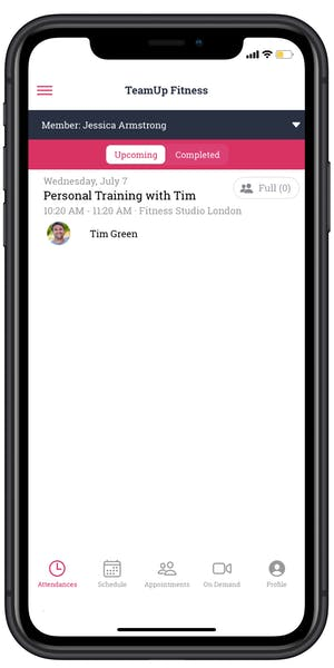 personal training confirmation in the member app