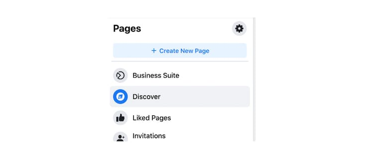 """The """"Create New Page"""" button on Facebook"""