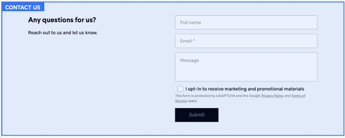 The email subscription form in