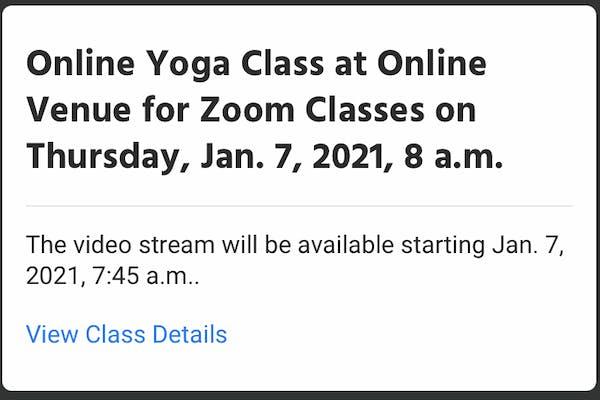 online class confirmation notification