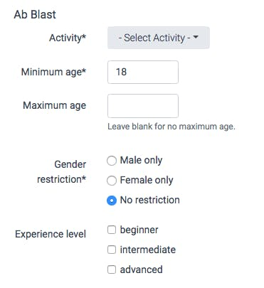 OpenActive activity settings