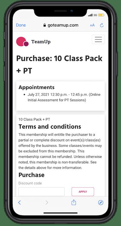 purchasing a membership in member app