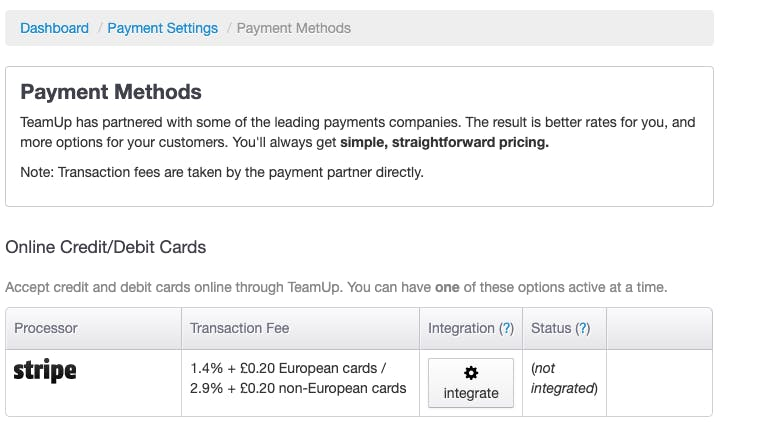 payment methods in teamup