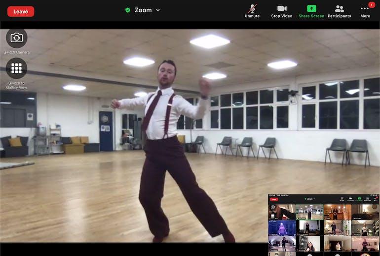 jake hooker owner of hove dance centre teaching an online class