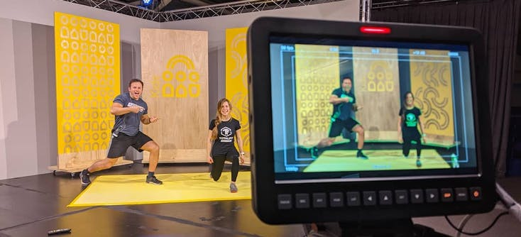 image of filming online fitness content by total fit brighton
