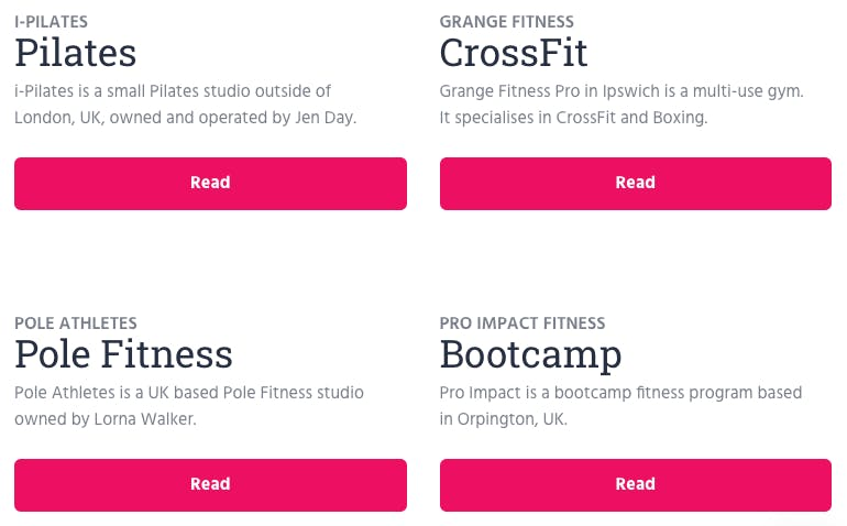 image of the fitness journey project fitness categories