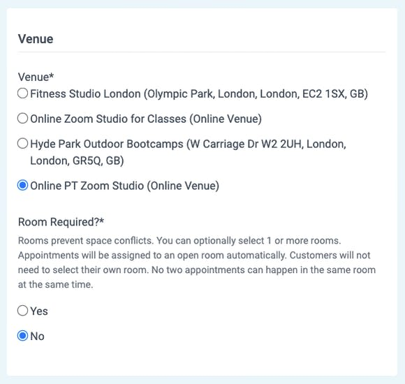 venues for online appointments